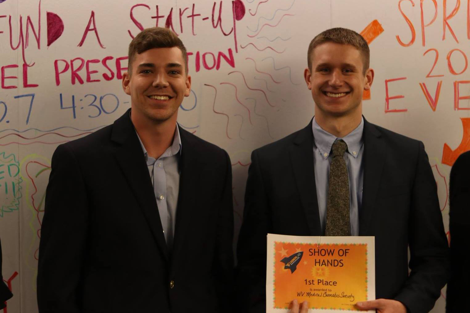 Andrew Wilson and Johnny McFadden are winers of the WVU LaunchLab Show of Hands pitch competition